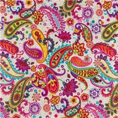 Hey, I found this really awesome Etsy listing at https://www.etsy.com/listing/225310066/bright-multicolor-paisley-fabric-by-the