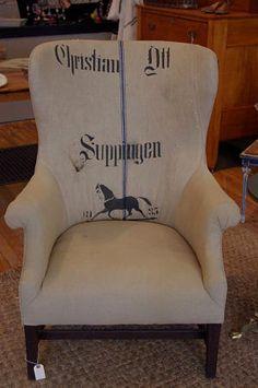 Upholstered Grain Sack Chair