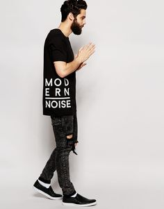 Image 4 of ASOS Longline T-Shirt With Typographic Text Patches