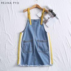 c71905a4776f3 RejinaPyo Women Preppy Style Denim Dress Sleeveless Female Side Striped  Mini Dress Spaghetti Strap Pockets 2018