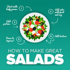 Healthy Salad Recipes Taken from our online Healthy Living Programs. Be a healthier you today! Salads can be tasty and healthy and can even work as a whole meal. Our salad recipes guide will show you how to make simple healthy salad