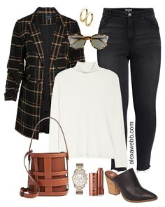 Plus Size Plaid Blazer Outfit – Alexa Webb A plus size fall outfit with a trendy over-sized long plaid boyfriend blazer, black jeans, and chunky mules. A rich color palette of black, cognac, and tan. Blazer Outfits Herbst, Blazer Outfits Fall, Plaid Blazer, Blazer Fashion, Oversized Blazer, Casual Blazer, Fashion Outfits, Grunge Outfits, Womens Fashion