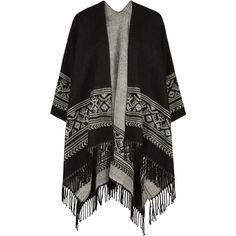 Sandwich Bi-colour poncho (970 ARS) ❤ liked on Polyvore featuring outerwear, jackets, scarves & wraps, fringe ponchos and wrap poncho