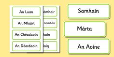 Gaeilge Days of the Week Months of the Year Word Cards Irish Language, Months In A Year, Words, Day, Irish, Horse