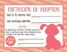 Puppy Adoption Certificate                                                                                                                                                                                 More