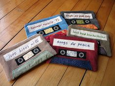 mix tapes helped me survive high school. i've still got all of them. there's some good stuff on those.  these are some zippered pouches i made to honor the beloved mix tape.
