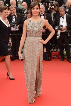 Freida Pinto spotted in beaded Sanchita gown at Cannes.