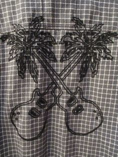 Tommy Bahama Men Relax L Guitar Palm Tree Gray L/S Button Front Shirt Wool Blend #TommyBahama #ButtonFront