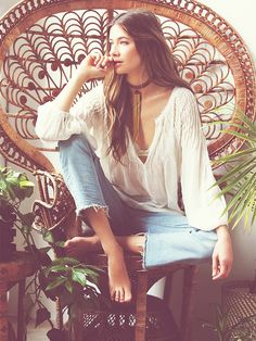 From Free People: I bought this a few months ago, and it's one of my favorite blouses. From the beach to going out for the evening, it's flowing and looks great with almost anything. It does run a little large, you may want to size down.