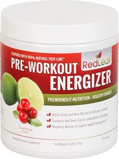 Red Leaf Pre-Workout Energizer – Sports Nutrition Supplement with BCAAs, Beta-Alanine, Glutamine, Green Tea, Raspberry Ketones – Cranberry Lime Flavor – 30 Servings Best Pre Workout Supplement, Pre Workout Nutrition, Good Pre Workout, Sports Nutrition, Healthy Nutrition, Get Healthy, Healthy Life, Healthy Drinks, Muscular Strength Exercises