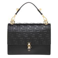 475d9f929d93 Fendi Women s Kan I Leather Shoulder Bag Black