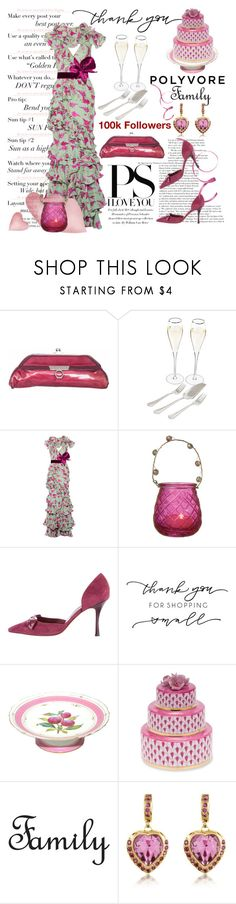 """Thank You, Polyvore Family"" by conch-lady ❤ liked on Polyvore featuring Zac Posen, Cathy's Concepts, Johanna Ortiz, Manolo Blahnik, Herend, AZ Collection and thankyoupolyvorefamily"