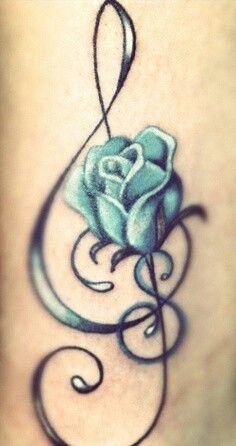 Blue Rose W Music Notes Tattoo Designs Tattoos Music Tattoos