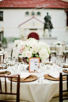 White and light pink wedding table setting