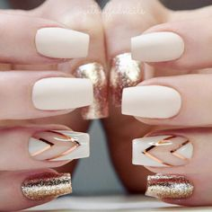 If you don't like fancy nails, classy nude nails are a good choice because they are suitable for girls of all styles. And nude nails have been popular in recent years. If you also like Classy Nude Nail Art Designs, look at today's post, we have col Gold Nail Art, White Nail Art, White Gold Nails, Ivory Nails, Black Gold, Matte Black, Black White, Glitter French Nails, Navy Blue Nails