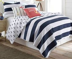 This is the perfect nautical themed quilt for your home.  Elise & James Home bring a fun nautical style to your home with this Hallie quilt set. Cotton quilt features