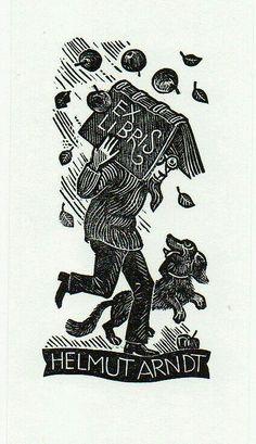 ex libris for Helmut Arndt Ex Libris, Illustrator, Folded Book Art, Book Folding, Chalk Pastels, Wood Engraving, Linocut Prints, Graphic Illustration, Graphics