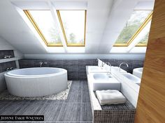 Nowoczesna łazienka na poddaszu. Sypialnia z łazienką aranżacja.