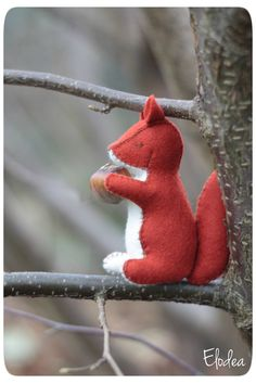 Squirel waldorf toy stuffed animal sewn from wool by ElodeaToys
