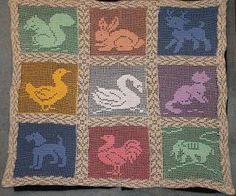 Hiddleson Baby Animals Filet Crochet Afghan
