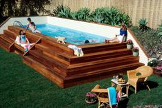 Diy Pool Deck Pool Decking Above Ground Swimming Pool Designs Awesome Above Ground Pool Deck Designs Pool Kit Pool Deck Coatings Diy Pool Deck Kit Outdoor Fun, Outdoor Spaces, Outdoor Living, Outdoor Decor, Oberirdische Pools, In Ground Pools, Diy In Ground Pool, Above Ground Swimming Pools, Pool Designs