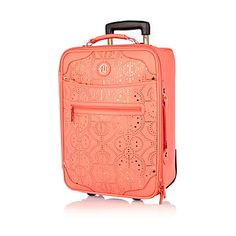 Bright coral laser cut wheelie suitcase - make up bags / luggage - bags / purses - women River Island Fashion, Cutest Thing Ever, Fashion Accessories, Luggage Accessories, Cool Gifts, Luggage Bags, Laser Cutting, Passion For Fashion, Boy Or Girl