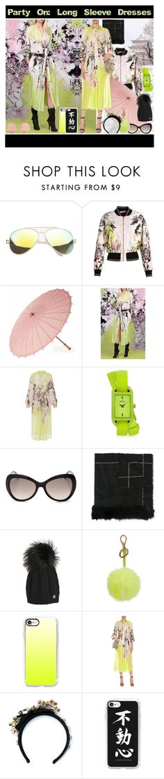 """Party On: Long Sleeve Dresses"" by yours-styling-best-friend ❤ liked on Polyvore featuring Roberto Cavalli, Cultural Intrigue, Versus, Anya Hindmarch, Casetify, Dolce&Gabbana and Linda Farrow"