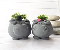 Excited to share this item from my etsy shop hippo planters couple gift hippopotamus figurine planter set cute succulent planter hippopotamus gift animal plant pots mini Pottery Animals, Ceramic Animals, Clay Animals, Ceramic Art, Clay Projects, Clay Crafts, Succulent Pots, Plant Pots, Succulents