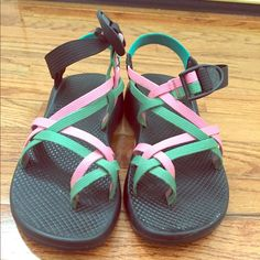 Women's Chacos Sandals These are personalized Chacos bought in the spring of 2014! They have been warn, but not religiously. The shoes just did not fit my feet as well as I thought they would. They're pink and green with a cute Aztec design on the back strap. In really good condition! Chacos Shoes Sandals