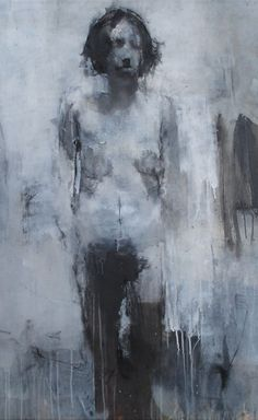 """""""Idea for Large Sculpture #2"""" - Sophie Jodoin, oil on canvas, 2003 {figurative #expressionist art discreet nude female standing woman cropped smudged painting grunge drips}"""