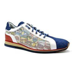 Zelli Alpha Men's Shoes Blue Texture Print/ Suede / Calf-Skin Leather Sneakers 65-211 (ZEL1213) Material:...