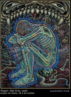 Alex_Grey-Despair Think this is my favorite ALex Grey painting I have seen yet Psychedelic Art, Art Gris, Alex Gray Art, Art Visionnaire, Psy Art, Sr1, A Perfect Circle, Art Graphique, Visionary Art