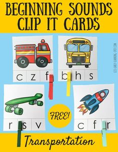 Beginning Sounds Transportation Clip It Cards - to add to transportation or community workers unit