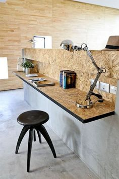 Modern Office Modern use of particle board - home office desk. Worktop in panels . Home Office Desks, Modern Office, Home Office Design, Office Furniture, Particle Board, Office Interior Design, Desk, Osb Furniture, Office Design