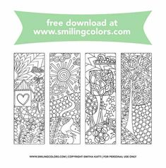 If you are a bookworm or a colorist grab these free bookmarks to color and have fun coloring them in. You can watercolor on these, use color pencils or any coloring medium of your choice. Bookmarks Diy Kids, Free Printable Bookmarks, Corner Bookmarks, Printable Flower, Handmade Bookmarks, Handmade Crafts, Free Adult Coloring Pages, Free Coloring, Colouring Pages