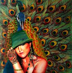 """""""Peacock Lady"""" by Ciska McCormack. Paintings for Sale. Bluethumb - Online Art Gallery"""