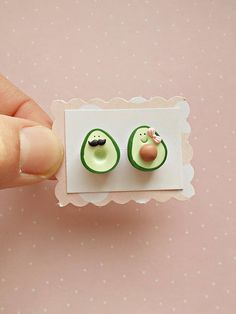 Avocado earrings created from polymer clay without molds or forms. The lenght of each stud earring is 1.2 cm. ❀ Price is for one pair of earrings. ❀ If you buy two or more items from my shop you will pay only one shipping fee. ❀ For all my cute models, please visit my shop>
