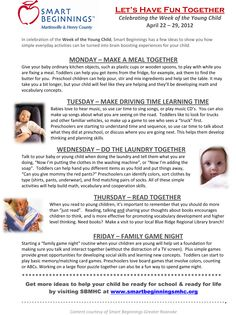 Activities to celebrate The Week of the Young Child