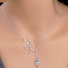 Owl and Leaf Lariat Style Necklace by MyFashionVille on Opensky