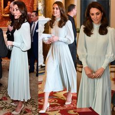 March 2019 - The Duchess of Cambridge, attending an event to mark the anniversary of the investiture of the Prince of Wales today. Kate Middleton Coat, Princess Kate Middleton, Kate Middleton Prince William, Pale Blue Dresses, Royal Dresses, Nice Dresses, Silk Satin Dress, 1800s Fashion, Iconic Women