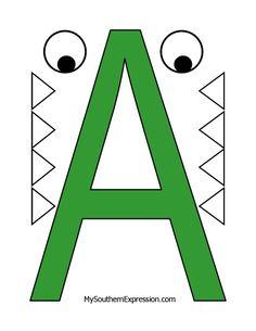 Letter of the Week A for Alligator FREE printable for preschool aged children. Preschool Letter Crafts, Alphabet Letter Crafts, Preschool Class, Preschool Learning Activities, Alphabet Activities, Preschool Worksheets, Crafts For Letter A, Letter Tracing, Free Preschool