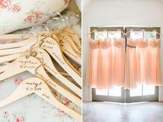 personalized hangers and peach bridesmaid dresses @weddingchicks