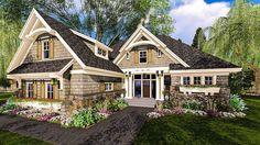 2300 SF Highly-Detailed Craftsman Home Plan with Bonus Suite Over Garage - thumb - 04 Craftsman Cottage, Craftsman Style House Plans, Cottage House Plans, New House Plans, Dream House Plans, Small House Plans, Cottage Homes, House Floor Plans, Craftsman Homes