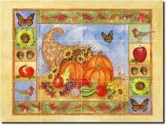 cornucopia i by sara mullen fruit vegetable glass tile wall floor mural 18 x 24