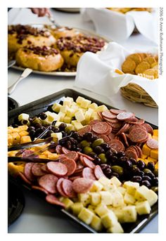 Cheese, meat, cracker, and olive platter