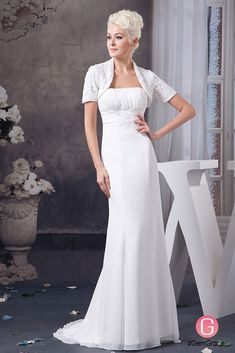 Only $164.9, Wedding Dresses Sheath Strapless Sweep Train Chiffon Wedding Dress With Appliques Lace #OP4946 at #GemGrace. View more special Wedding Dresses,Wedding Dresses for Older Brides,Simple Wedding Dresses now? GemGrace is a solution for those who want to buy delicate gowns with affordable prices, a solution for those who have unique ideas about their gowns. Shop now to get $10 off!