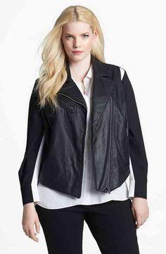 5a4a9c14d3a Two by Vince Camuto Faux Leather Moto Vest (Plus Size)