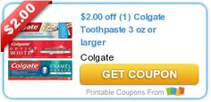 $2.00 off (1) Colgate Toothpaste 3 oz or larger