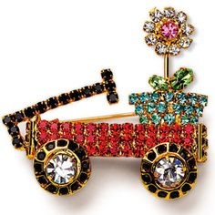 Sparkling Flower Wagon Pin