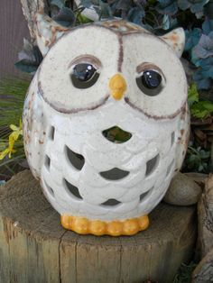 Ceramic Owl Lantern  Candle Holder